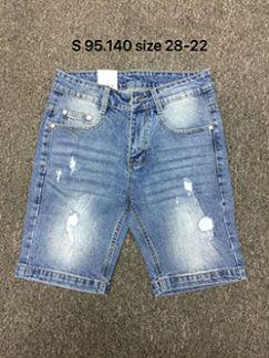 Quần sọt jean nam trắng xanh rách s95.140