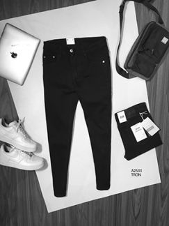 Quần jean nam đen rách gối A2S33