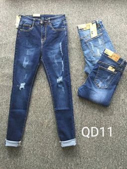 Bỏ sỉ quần jean nữ lưng cao 1 nút giá rẻ QD11