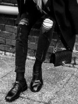 Quần jean nam đen rách bụi