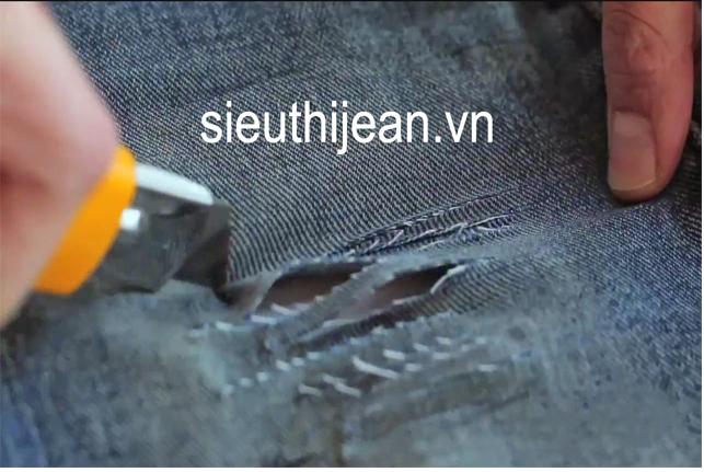 Cách làm quần jean rách đẹp mà đơn giản - 3