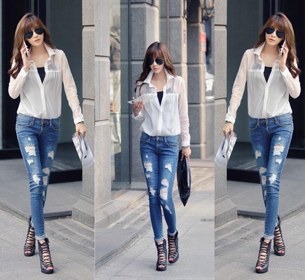 Phá cách cùng quần jeans rách tung tăng xuống phố - 5