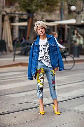 Cá tính với những chiếc quần jeans chắp vá - 1