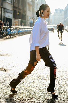 Cá tính với những chiếc quần jeans chắp vá - 5