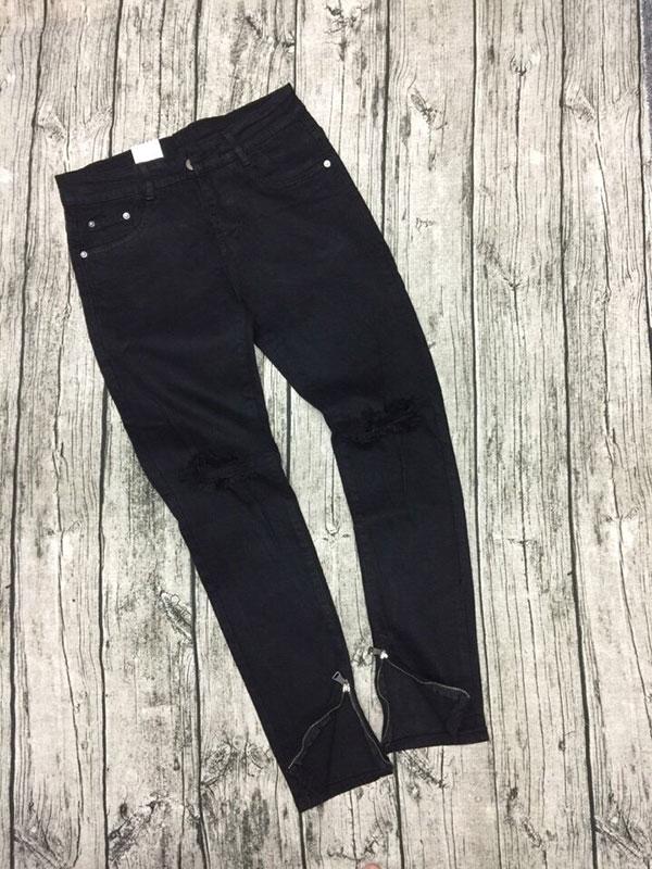 Quần jean nam đen zip