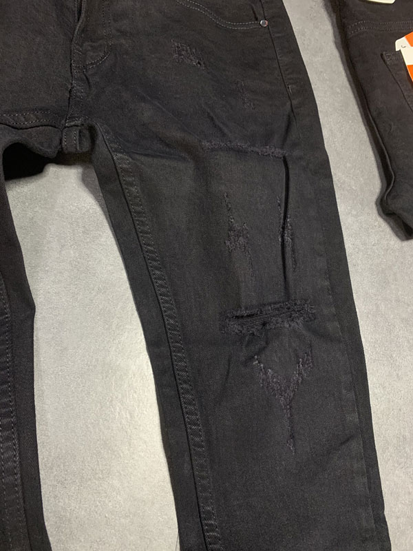 Quần jean dài nam đen rách gối