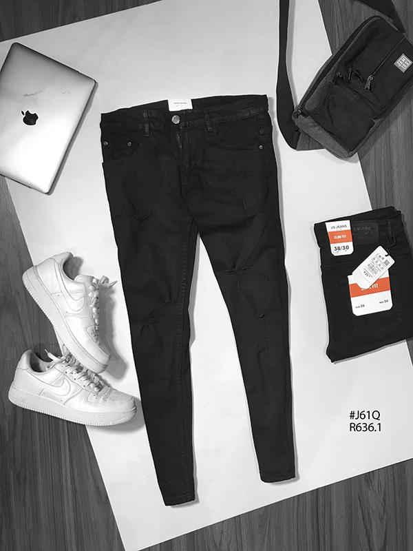 Quần jean dài nam đen rách R636.1