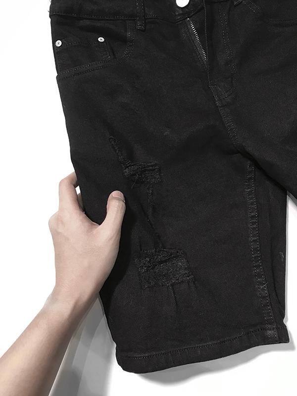 Quần jean sooc nam đen rách SR634.1